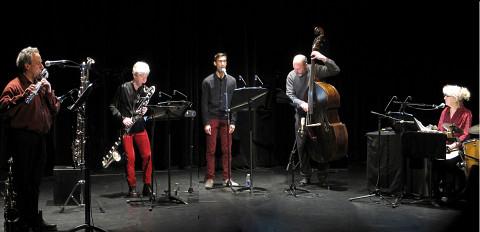Left to right: Jean Derome; Lori Freedman; Gabriel Dharmoo; Nicolas Caloia; Danielle Palardy Roger [Photograph: Céline Côté, Montréal (Québec), March 13, 2014]
