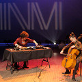 Kevin Gironnay & Émilie Girard-Charest during the Le cabaret qui ruisselle concert, as part of the Montréal / Nouvelles Musiques 2021 festival. [Photograph: Céline Côté, Montréal (Québec), February 24, 2021]