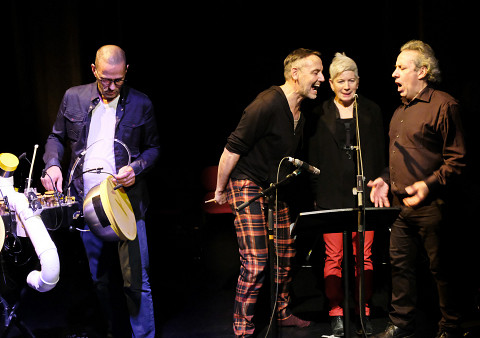 Jean-François Laporte, Michel F Côté, Lori Freedman, Jean Derome [Photograph: Céline Côté, Montréal (Québec), October 24, 2019]