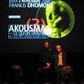 Jean-François Denis et Robert Normandeau présentent le concert de Francis Dhomont lors d'Akousma (3), au Monument-National [Photo: Luc Beauchemin, Montréal (Québec), 2 novembre 2006]
