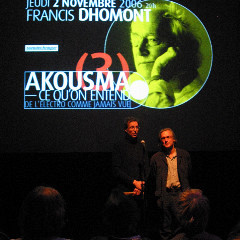Jean-François Denis and Robert Normandeau introduce the Francis Dhomont concert during Akousma (3), at the Monument-National [Photo: Luc Beauchemin, Montréal (Québec), November 2, 2006]