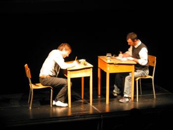 Martin Messier et Jacques Poulin-Denis interprètent Projet pupitre, Studio Hydro-Québec — Monument-National [Photo: Luc Beauchemin, Montréal (Québec), 10 décembre 2008]