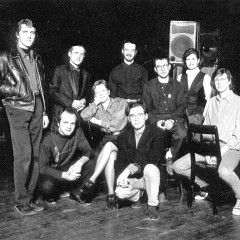 """Traces électro — Canada 91"" tour. At The Banff Centre for the Arts. Left to right and top to bottom: Trevor Tureski, Robert Normandeau, Daniel Scheidt, Claude Schryer, Catherine Lewis, Jean-François Denis, Jacques Drouin, Pauline Vaillancourt, Alain Thibault [Banff (Alberta, Canada), March 25, 1991]"