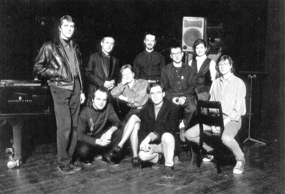 """Traces électro — Canada 91"" tour. At The Banff Centre for the Arts. Left to right and top to bottom: , Robert Normandeau, Daniel Scheidt, Claude Schryer, , Jean-François Denis, Jacques Drouin, Pauline Vaillancourt, Alain Thibault [Banff (Alberta, Canada), March 25, 1991]"