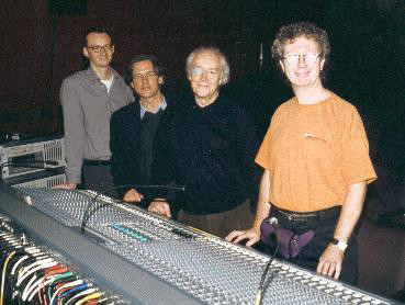 """Louis Dufort, Robert Normandeau, Francis Dhomont and Paul Hodge during the """"Nothing To Look At"""" concert presented by New Music Concerts [Toronto (Ontario, Canada), October 26, 2001]"""