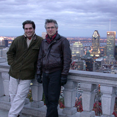 Theodoros Lotis, composer having a work presented during the Rien à voir (14) event, and Robert Normandeau at Mont-Royal's Belvedère sud [Photo: Anick La Bissonnière, Montréal (Québec), October 2003]
