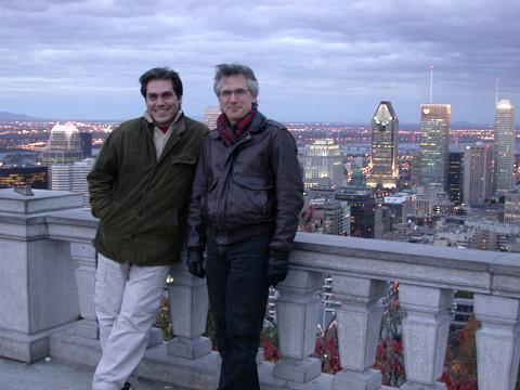 Theodoros Lotis, composer having a work presented during the Rien à voir (14) event, and Robert Normandeau at Mont-Royal's Belvedère sud [Photo: Anick La Bissonnière, Montréal (Québec), October 2003]