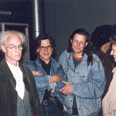 François Bayle, Robert Normandeau, Jean-François Denis, Anne-Marie Marsaguet, GRM's Studio 116, Maison de Radio France [Photo: Michel Lioret (Ina-GRM), Paris (France), June 6, 1994]