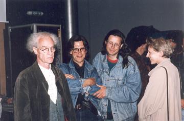 François Bayle, Robert Normandeau, Jean-François Denis, Anne-Marie Marsaguet, Studio 116 du GRM, Maison de Radio France [Photo: Michel Lioret (Ina-GRM), Paris (France), 6 juin 1994]