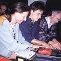 Jean-François Denis, Robert Normandeau, Francis Dhomont: Diffusion à trois en guise de rappel au 102 d'Alembert (lors de la tournée «Traces électro — Europe 92»). [Une tournée de 10 concerts à Lyon, Genève, Annecy, Vierzon, Grenoble, Albi et Bruxelles a eu lieu du 1er juin au 1er juillet 1992. Cette tournée a regroupé les compositeurs montréalais Robert Normandeau, Francis Dhomont et Jean-François Denis. (Christian Calon et Javier Álvarez ont participé à deux des dix concerts.) «Traces électro Europe 92» a reçu l'aide financière des Relations culturelles internationales du Gouvernement du Canada ainsi que des Services culturels de l'Ambassade du Canada en France.] [Photo: Bernard Donzel-Gargand, Grenoble (Isère, France), 12 juin 1992]