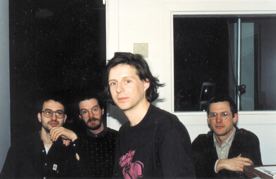 """Claude Schryer, Daniel Scheidt, Jean-François Denis, Robert Normandeau during the tour """"Traces électro — Canada 91"""", Obscure [Quebec City (Québec), March 9, 1991]"""