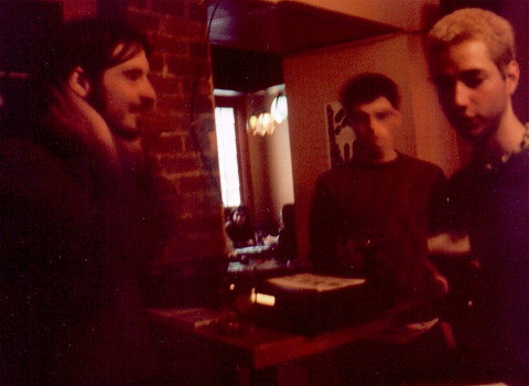 David Turgeon, Guillaume Théroux-Rancourt and Frédérick Blouin at No Type's CD launch [Photo: Esther Bourdages, Quebec City (Québec), June 2, 2002]