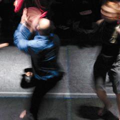 Andrew Harwood, Emmanuel Jouthe, Daniel Soulières, Marc Boivin during the Treize lunes show [Photograph: Céline Côté, Montréal (Québec), February 2007]