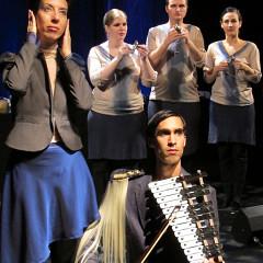 Alexandrine Agostini, Catherine Meunier, Isaiah Ceccarelli, Corinne René, and front row Gabriel Dharmoo [Photograph: Céline Côté, Montréal (Québec), April 11, 2012]