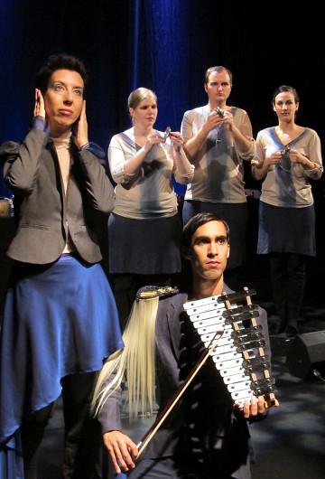 , Catherine Meunier, Isaiah Ceccarelli, Corinne René, and front row Gabriel Dharmoo [Photo: Céline Côté, Montréal (Québec), April 11, 2012]