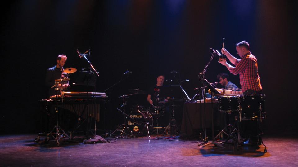 Architek Percussion en concert à l'événement DAME: Archive / mémoire [Photo: Céline Côté, Montréal (Québec), 16 février 2017]