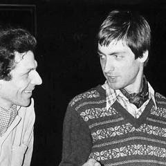 Patrick Ascione — avec le peintre  (à gauche) — lors de son premier concert solo «Son Mu», Grand Auditorium, Maison de Radio France [Photo: Ruska, Paris (France), 22 février 1982]