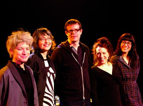 Musicians of the March 8, 2012 concert Les filles à l'envers. Left to right: Lori Freedman; Myléna Bergeron; Alexander MacSween; Joane Hétu; Magali Babin [Photo: Élisabeth Alice Coutu, Montréal (Québec), March 8, 2012]