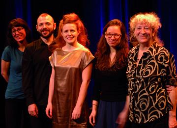 Musicians of the March 13, 2012 concert Les filles à l'envers. Left to right: Magali Babin; Nicolas Dion; Andrea-Jane Cornell; Émilie Girard-Charest; Danielle Palardy Roger [Photo: Élisabeth Alice Coutu, Montréal (Québec), March 13, 2012]