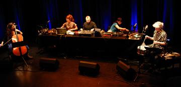 Les filles à l'envers in concert on March 13, 2012. Left to right: Émilie Girard-Charest; Andrea-Jane Cornell; Nicolas Dion; Magali Babin; Danielle Palardy Roger [Photo: Élisabeth Alice Coutu, Montréal (Québec), March 13, 2012]