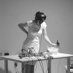 Magali Babin performing at Galerie Rad'a [Photograph: Guy L'Heureux, Montréal (Québec), May 2003]