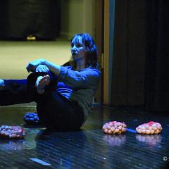 Louise Bédard performing the piece Joséphine, la cantatrice des souris third part of the project À la rencontre de Kafka [Photograph: Jean-Claude Désinor, Montréal (Québec), April 15, 2011]