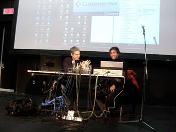 Christian Bouchard et Sébastien Roux en conférence au Conservatoire de musique de Montréal [Photo: Nicolas Bernier, Montréal (Québec), December 10, 2008]