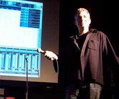Christian Bouchard en conférence au Conservatoire de musique de Montréal [Photo: Nicolas Bernier, Montréal (Québec), December 10, 2008]