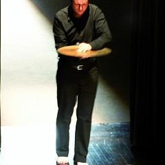 Isaiah Ceccarelli performing the piece Un artiste de la vie first part of the project À la rencontre de Kafka [Photograph: Jean-Claude Désinor, Montréal (Québec), April 1, 2011]
