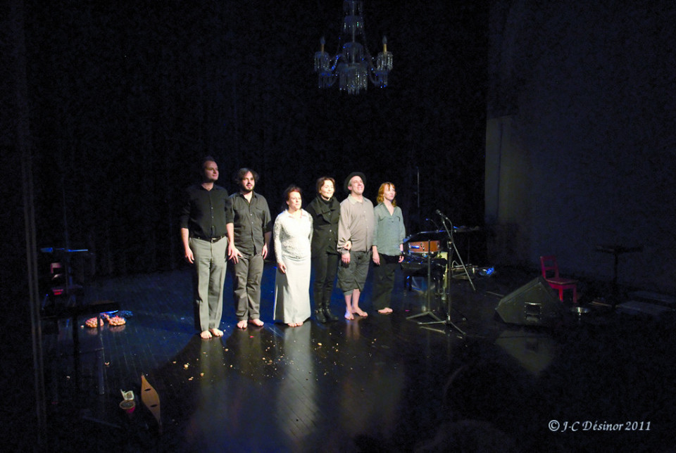Performers Isaiah Ceccarelli, Guido Del Fabbro, Joane Hétu, , Jean Derome, Louise Bédard in Joséphine, la cantatrice des souris third part of the project À la rencontre de Kafka [Photo: Jean-Claude Désinor, Montréal (Québec), April 15, 2011]