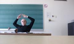 Michel Chion during the What is fixed within fixed sound? conference, Université de Montréal [Photo: Nicolas Bernier, Montréal (Québec), February 20, 2009]