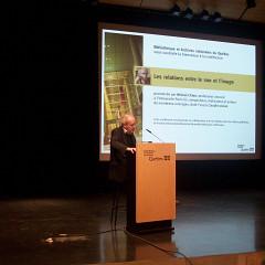Michel Chion during the Sound and Image Relationships conference, Auditorium, Grande Bibliothèque [Photo: Nicolas Bernier, Montréal (Québec), February 19, 2009]