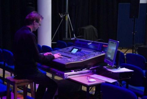 Jean-François Denis rehearshing for the concert empreintes DIGITALes @ 20: Cinema for the Ears as part of the Huddersfield Contemporary Music Festival [Photo: Scott Hewitt, Huddersfield (England, UK), November 24, 2010]