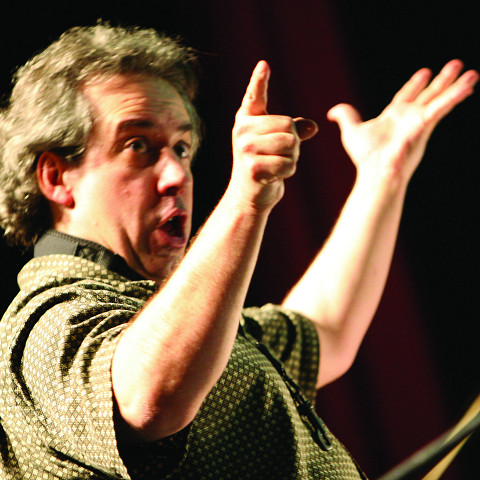 Jean Derome in concert at the 25th FIMAV [Photograph: Martin Morissette, Victoriaville (Québec), May 15, 2008]