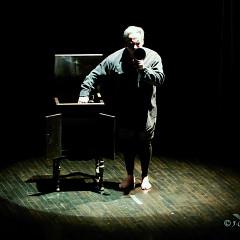 Jean Derome performing the piece Un artiste de la vie first part of the project À la rencontre de Kafka [Photograph: Jean-Claude Désinor, Montréal (Québec), April 1, 2011]