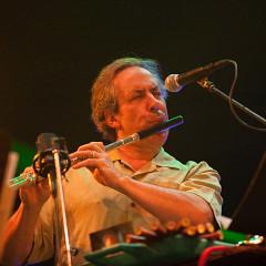 Jean Derome in concert with Ensemble SuperMusique (ESM) at Festival international de musique actuelle de Victoriaville [Photograph: Martin Morissette, Victoriaville (Québec), May 19, 2012]