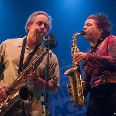 Joane Hétu and Jean Derome in concert with Ensemble SuperMusique (ESM) at Festival international de musique actuelle de Victoriaville [Photograph: Martin Morissette, Victoriaville (Québec), May 19, 2012]