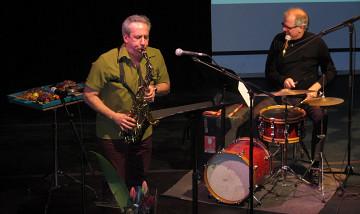Jean Derome and Pierre Tanguay performing To Continue at the Année Jean Derome launch [Photo: Céline Côté, Montréal (Québec), April 28, 2015]