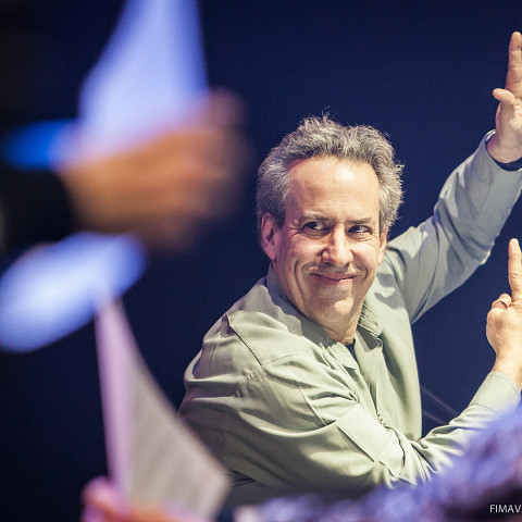 Jean Derome conducting during a concert at FIMAV, 2015 edition [Photograph: Martin Morissette, Victoriaville (Québec), May 14, 2015]