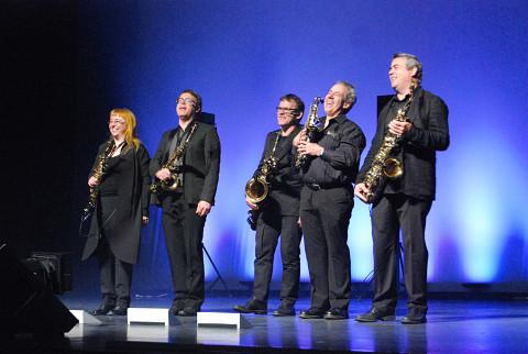 Quasar et Jean Derome lors du concert Le cri des oiseaux fous au Festival des musiques de création de Jonquière [Jonquière (Québec), 16 mai 2015]