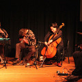 Jean Derome, Tony Wilson, Peggy Lee, Éric Normand improvising together at a concert [Photograph: Laura Krutz Photography, Vancouver (British Columbia, Canada), November 21, 2016]