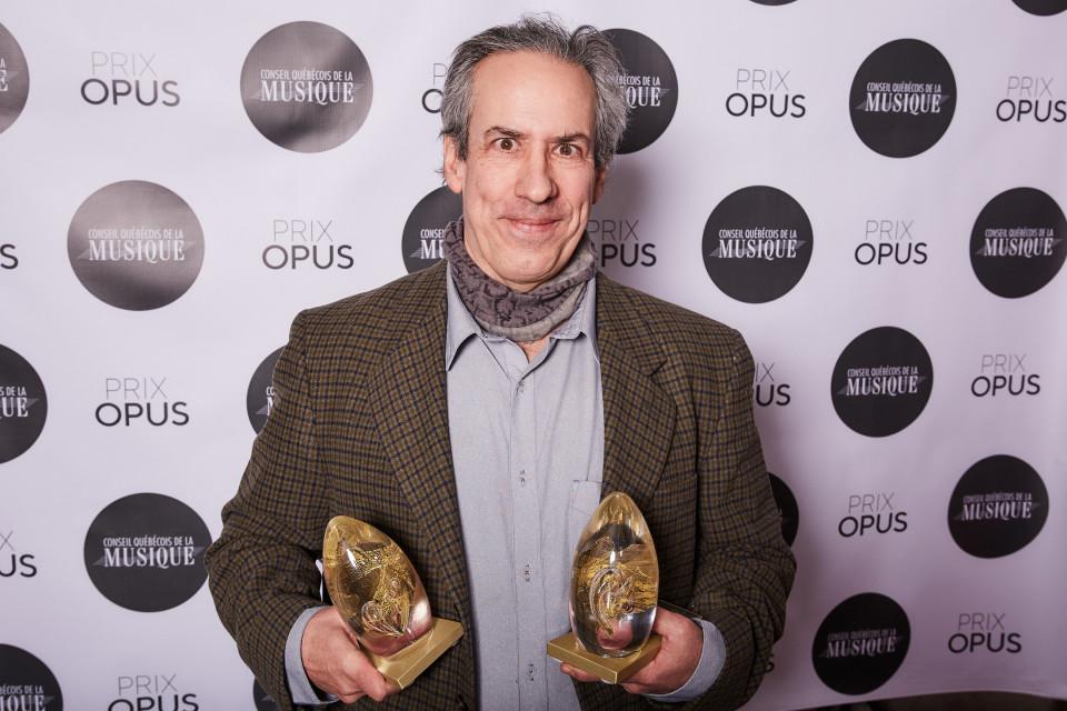 Jean Derome and his two Opus prizes [Photograph: Charles Bélisle, Montréal (Québec), February 3, 2019]
