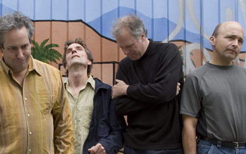 Jean Derome et les Dangereux Zhoms, from left to right: Jean Derome, Guillaume Dostaler, Pierre Tanguay,Pierre Cartier [Photograph: Richard-Max Tremblay, September 2007]