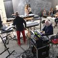 Harpon (Jean-Jacques Birgé, Amandine Casadamont), and Francis Dhomont during the final sound check just before the concert [Photo: (Phonurgia), Arles (Bouches-du-Rhône, France), August 1, 2016]