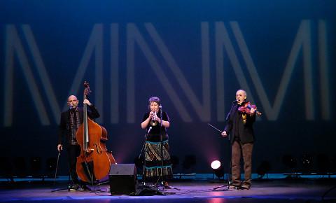 Eguiluz Trio (Stéphane Diamantakiou, Géraldine Eguiluz, Jean René) lors du concert Le cabaret qui ruisselle, dans le cadre du festival Montréal / Nouvelles Musiques 2021. [Photo: Céline Côté, Montréal (Québec), 24 février 2021]