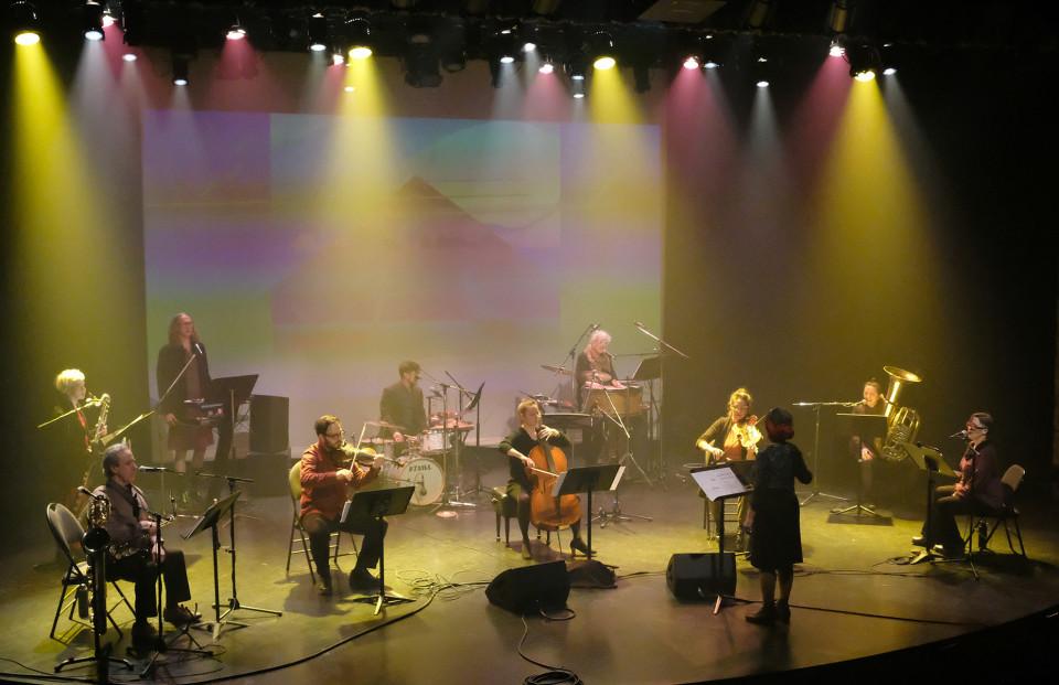 Ensemble SuperMusique (ESM) / Concert, Amphithéâtre – Le Gesù, Montréal (Québec) [Photograph: Céline Côté, Montréal (Québec), April 8, 2021]