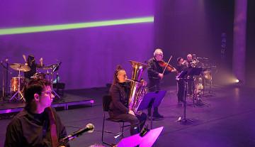 Ensemble SuperMusique (ESM) / Aussi sur la photo: Bernard Falaise, Jean René, Joane Hétu, Jean Derome, Ida Toninato [Photo: Céline Côté, Montréal (Québec), 3 octobre 2021]