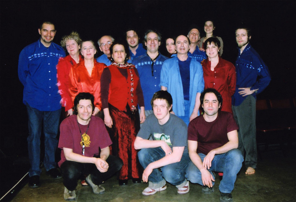 Ensemble SuperMusique: Normand Guilbeault, Danielle Palardy Roger, Diane Labrosse, Pierre Hébert (images vidéo), Joane Hétu, Guido Del Fabro, Jean Derome, Mélanie Auclair, Daniel Soulières (danseur), Pierre Tanguay, Séverine Lombardo (danseuse), Claire Gignac, Nemo Vemba, Bernard Grenon (son), Guillaume Bloch et Colin Gagné (membres de l'équipe technique) [Photograph: Céline Côté, Montréal (Québec), March 16, 2006]