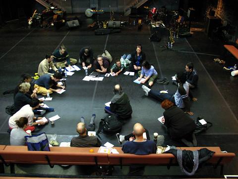 """Ensemble SuperMusique (ESM) rehearsing for """"Treize lunes"""" show [Montréal (Québec), February 2007]"""
