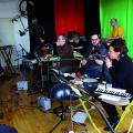 Left to right: Alexandre St-Onge; Vergil Sharkya'; Émilie Girard-Charest; Danielle Palardy Roger; Jean Derome; Martin Tétreault; Guido Del Fabbro; Michel F Côté; Joane Hétu [Photograph: Élisabeth Alice Coutu, Montréal (Québec), February 13, 2012]